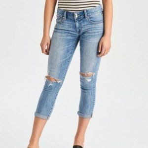 American Eagle Light Wash Artist Crop Jeans